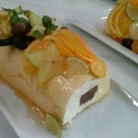 Mousse de naranja y núcleo de chocolate