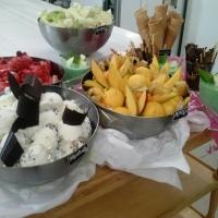 Sorbete de fresa y helado de mojito