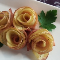 Rosas de manzana y bacón